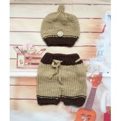 13292d561 Newborn Cable Knit Brown Beanie & Pants Set